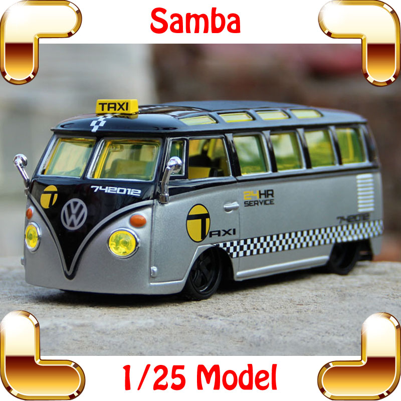 New Year Gift Samba Bus 1/25 Mini Metal Model Collection Vehicle Bus Scale Car Simulation Design Children Toys Decoration new year gift gallargo 1 18 large model metal car metallic scale simulation diecast alloy collection toys vehicle present