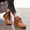 A518 Lace-up Geunine Leather Boots 2016 Fashion Casual Low Tube Round Toe Real Leather Shoes Winter Shoes Women Warm Thick