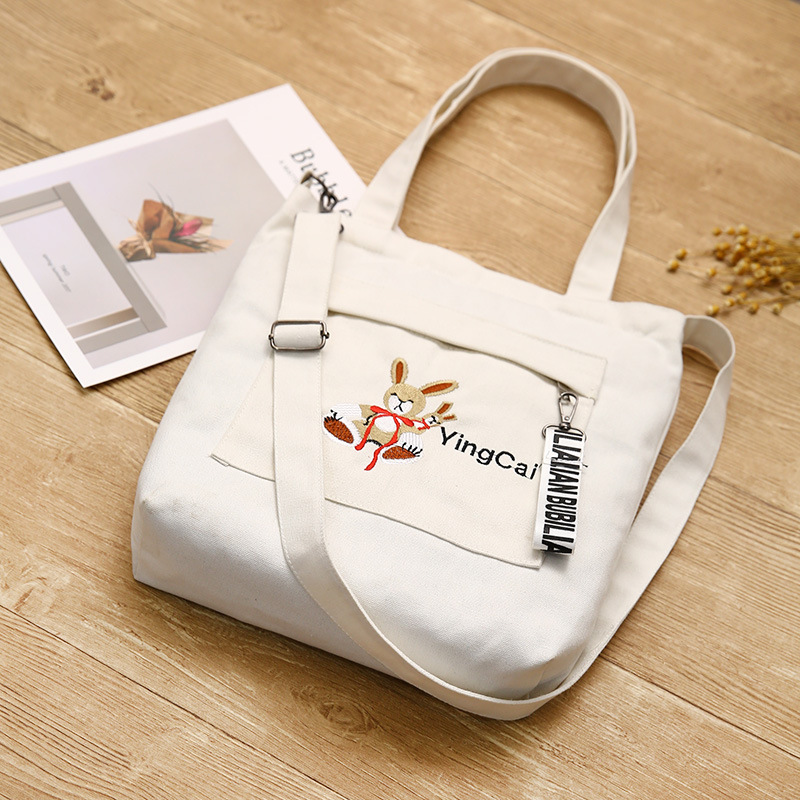 Korean Canvas Single-shoulder Bag Embroidery Rabbit Environmental Protection Multi-functional Single-shoulder Student Back