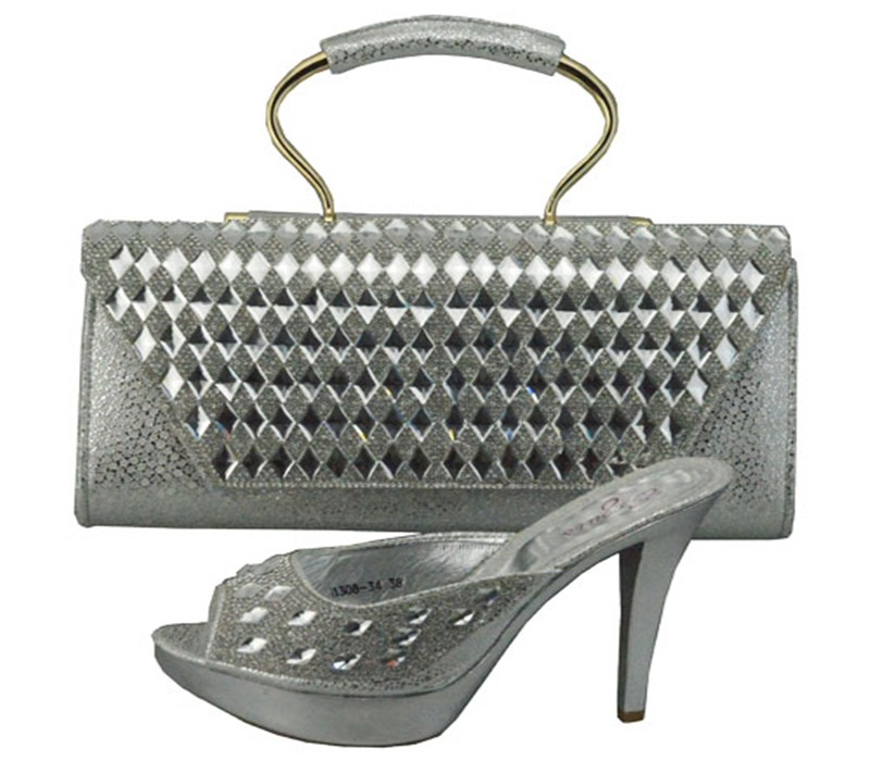 ФОТО High Quality Matching Italian Shoe And Bag Set African Lady high heels Silver Color African Shoes With Handbag Set 1308-34
