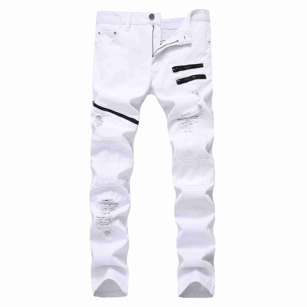 #2121 2018 White/red jeans joggers Casual Skinny Ripped jeans for men Distressed Punk style Multi Chain decoration Slim
