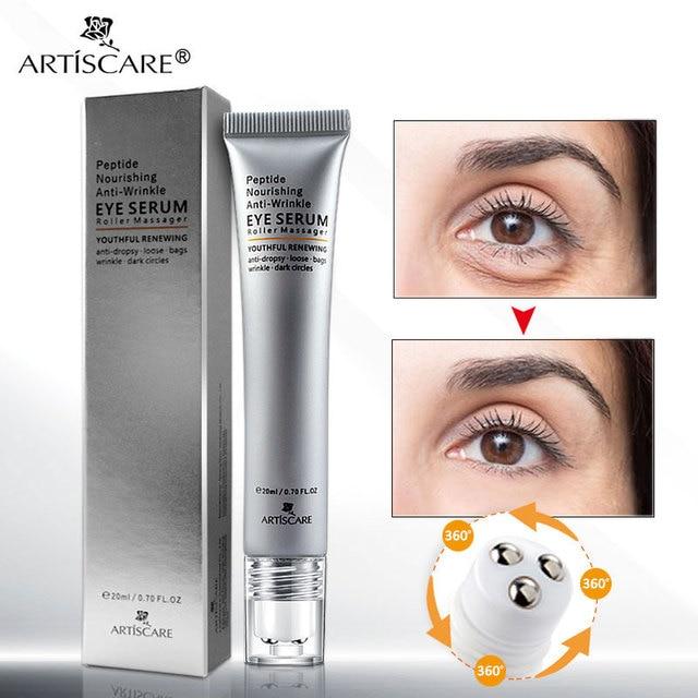 ARTISCARE Peptide Anti Wrinkles Eye Serum Roller Massager Eye Patches Skin Care Anti Puffiness Fine Lines Dark Circles Eye Cream