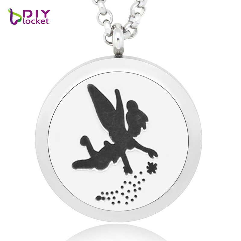 2017 NEW 30mm fashion women essential oil diffuser necklace trendy perfume locket pendant for women