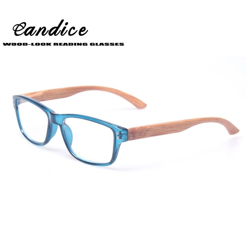Läsglasögon Kvalitet Modeläsare Vår gångjärn med trä-look Temple Presbyopia glasögon +0,50 till +600