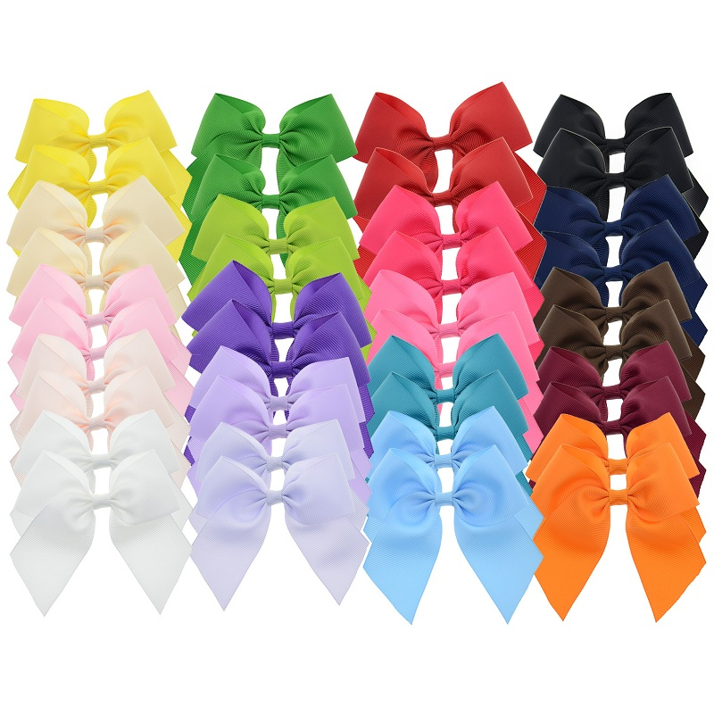 40PCS 4 inch Girls Grosgrain Cheerleader Bows Alligator Hair Clips Kids Hairbows Hair Pins Headdress Handmade