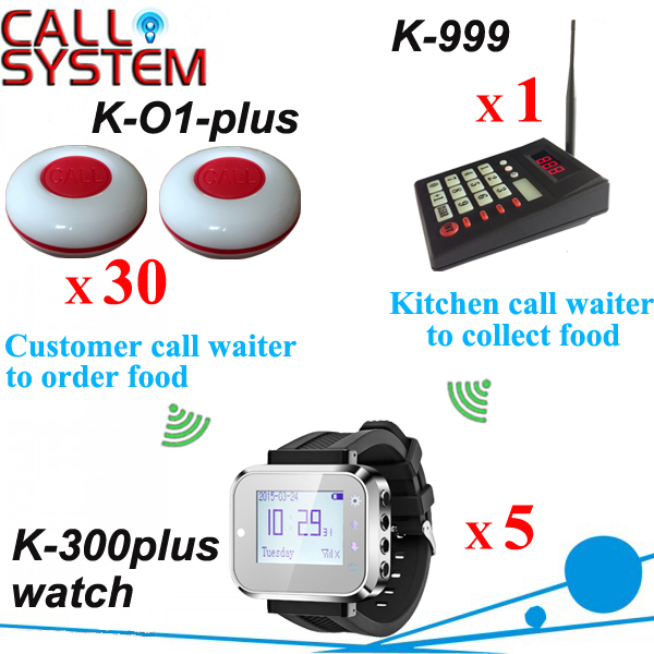 Hotel paging bell services numeric transmitter K-999 with wrist watch K-300plus and customer button 100% waterproof