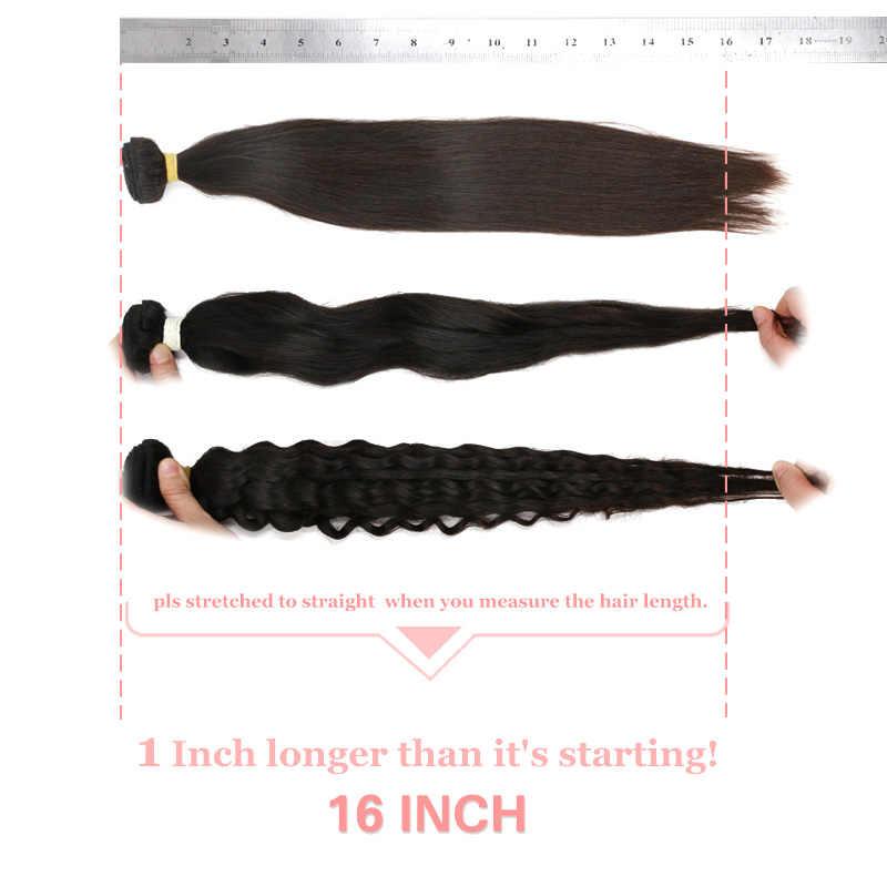 Productos para el cabello de la reina de Ali 4 piezas de pelo peruano de onda profunda paquetes de tejido de cabello Remy extensión de cabello humano Color Natural # 1B