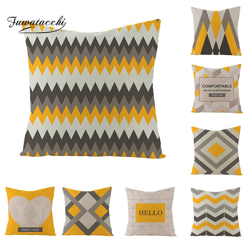 Fuwatacchi Geometric Pattern Letters Diamond Cushion Cover Wave Striped Yellow Blue Throw Pillow Cover European Pillowcases