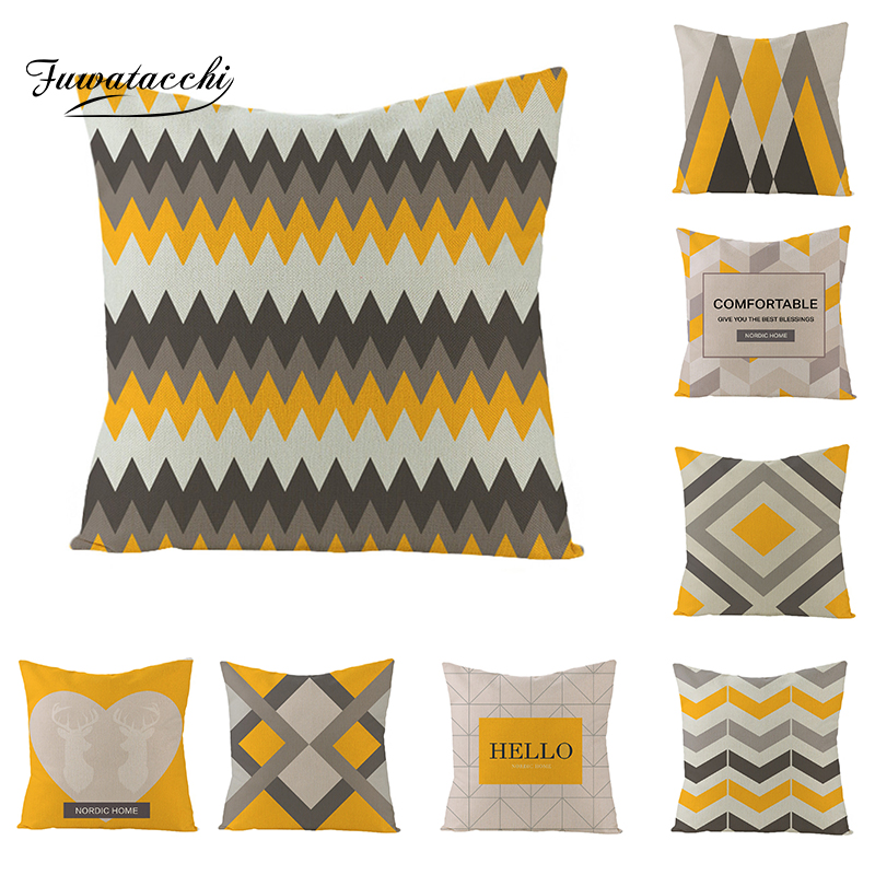 Fuwatacchi Geometric Pattern Letters Diamond Cushion Cover Wave Striped Yellow Blue Throw Pillow European Pillowcases