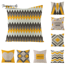 Fuwatacchi Geometric Pattern Letters Diamond Cushion Cover Wave Striped Yellow Blue Throw Pillow European Pillowcases