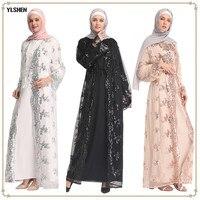 2019 Abaya Dubai Muslim Dress Luxury Sequins Embroidery Lace Islamic Clothing Cardigan Robes Kaftan Abayas For Women Kimono