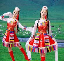 Mongolia Dança Popular chinesa Traje Nacional Traje de Dança de Manga Longa Roupas Minoria Chinesa de Vestuário Performance de Palco 89