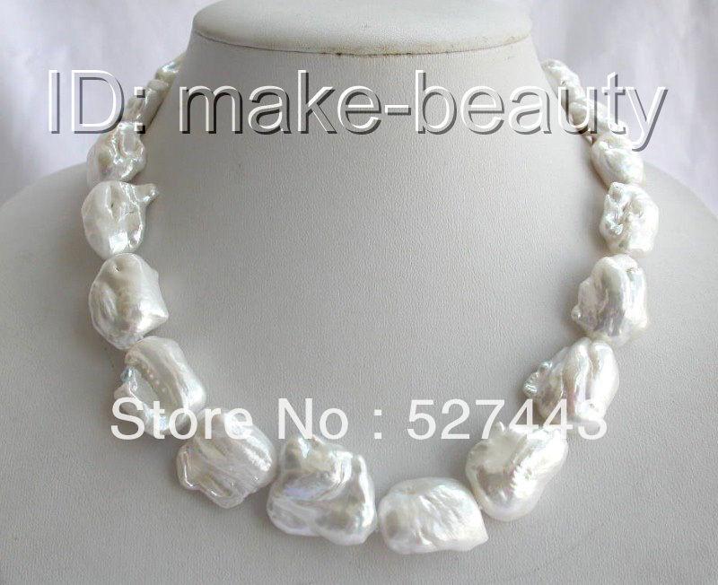 Vente en gros livraison gratuite>> superbe grand 17-22mm baroque blanc keshi reborn collier de perles de culture d'eau douce