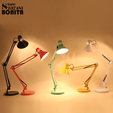 American long arm folding clip table lamps for bedroom reading table light LED eye protection work study desk lamp Dimmable