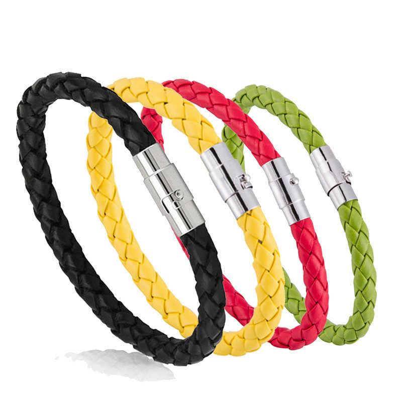 15 renkler yeni dokuma bilezik çift bilezik manyetik toka erkekler kadınlar örgülü deri çelik deri halat zincir takı hediyeler