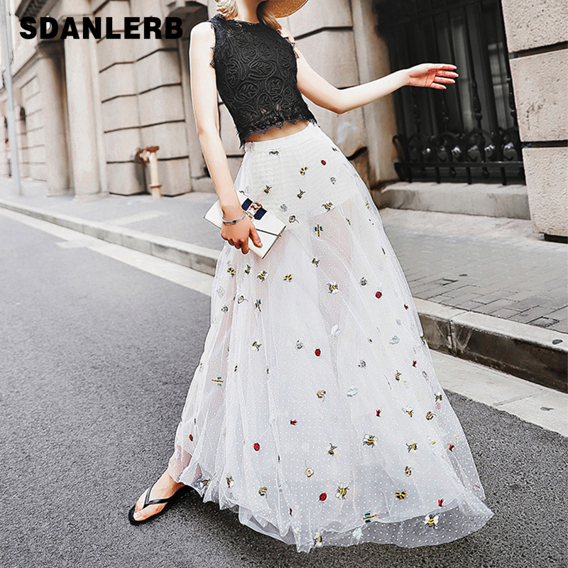 Embroidery Gauze Skirt Women Holiday Beach Long Skirt Butterfly Insect Bee Wave Point White Three-story Mesh Skirts Summer Girls