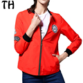2016 Autumn Embroidery Zipper Casual Bomber Jacket Women Plus Size Basic Coats Chaquetas Mujer #161413