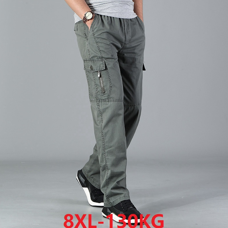 Men Cargo Pants Pocket Zipper Out Door Big Size Pants Simple 6XL 7XL 8XL Army Green Pants Summer Straight Trousers Loose Gray 48