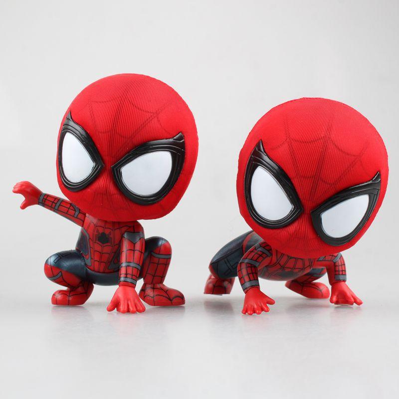 1pcs Spider Man Hero Back Homecoming Spiderman Q Version PVC Figure Car Decoration Model Doll Toys Brinquedos Christmas Gift