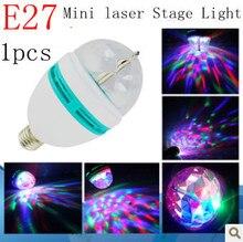 Free shipping 1x RGB Full Color 5w  E27 E14 LED Bulb Crystal Auto Rotating Stage Effect DJ Light Bulb Mini laser Stage Light