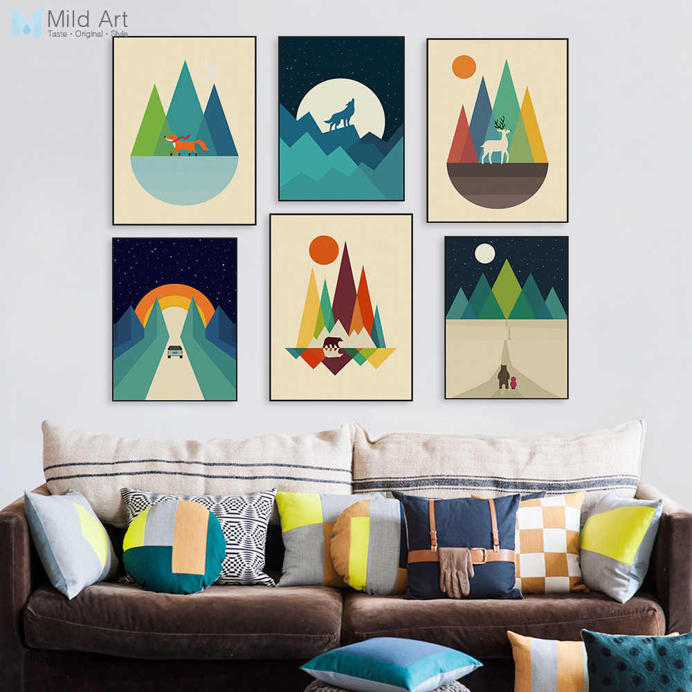 Modern Abstract Geometric Mountain Posters Prints Colorful Pop Nordic Home Decor Landscape Big Wall Art Pictures Canvas Painting