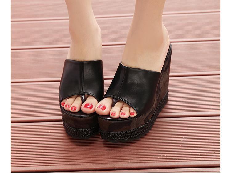 5a4a2b4b065f03 Cheap Trendy Womens Flip Flop Sandal Camo Trifle High Heel Platform Wedges  Slip On Peep Black White Leather Summer Style Shoes