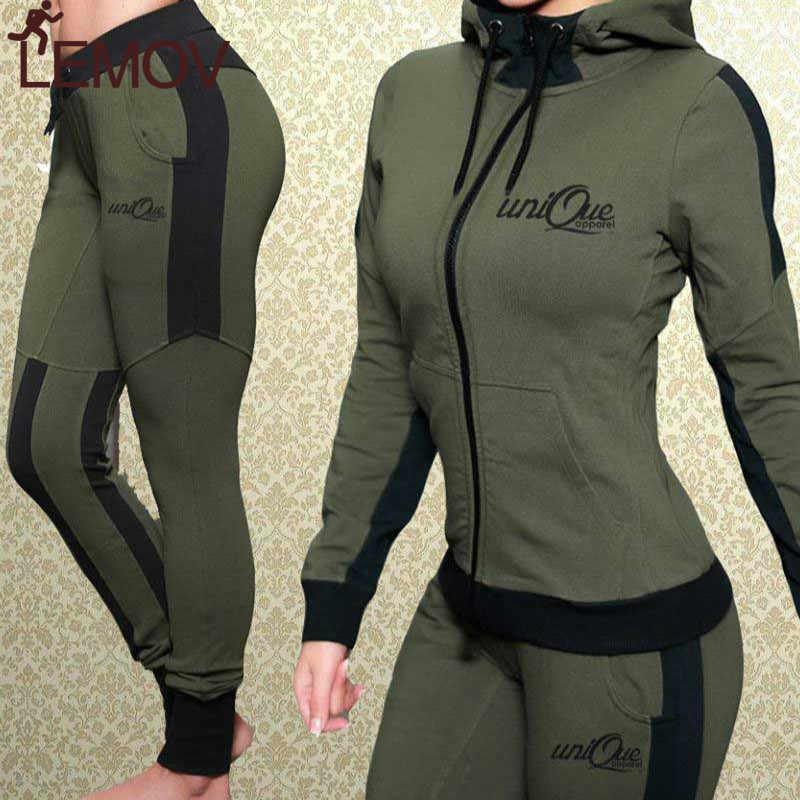 衣装 2 ピース女性セット付きスウェットパンツ固体スリムカジュアル汗スーツマッチングセット用