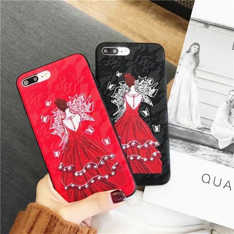 Handmade Embroidery Girl Cases for iphone X 6 6s plus Red Black Lace PU Leather Phone Cover for iphone 7 8plus for iphone 7 8