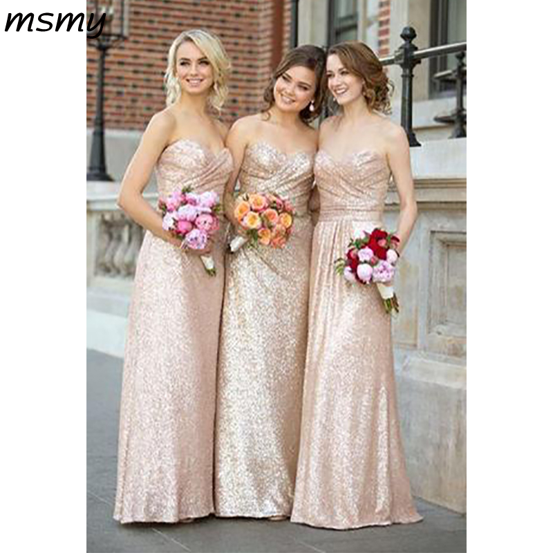 Simple Gold Sequin Sweetheart   Bridesmaid     Dresses   Strapless Long   Bridesmaid   Dressese Party Prom   Dresses   Custom Made Custom Made