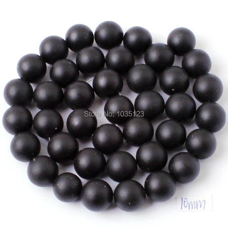 Kualitas tinggi Putaran Batu Akik Alami Buram Hitam Gelang Kalung - Perhiasan fashion - Foto 5