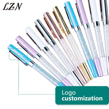 LZN Crystal Diamond Ballpoint Pens Stationery Metal pens Novelty Free Personalized Name/Date/Wish words For Special Wedding