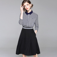 2018 New Summer Office Lady Two Piece Sets Striped Shirt + Pleated A line Skirt Slim 2 Piece Suit Women Summer