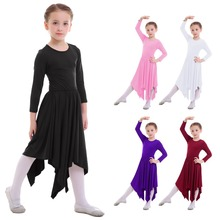 2018 Kids Girls Praise Dress Long Sleeve Pleated Swing Dancewear Liturgical Dance Irregular Hem Maxi Girls Dresses 3-14 Years crisscross embroidered sleeve hanky hem swing dress