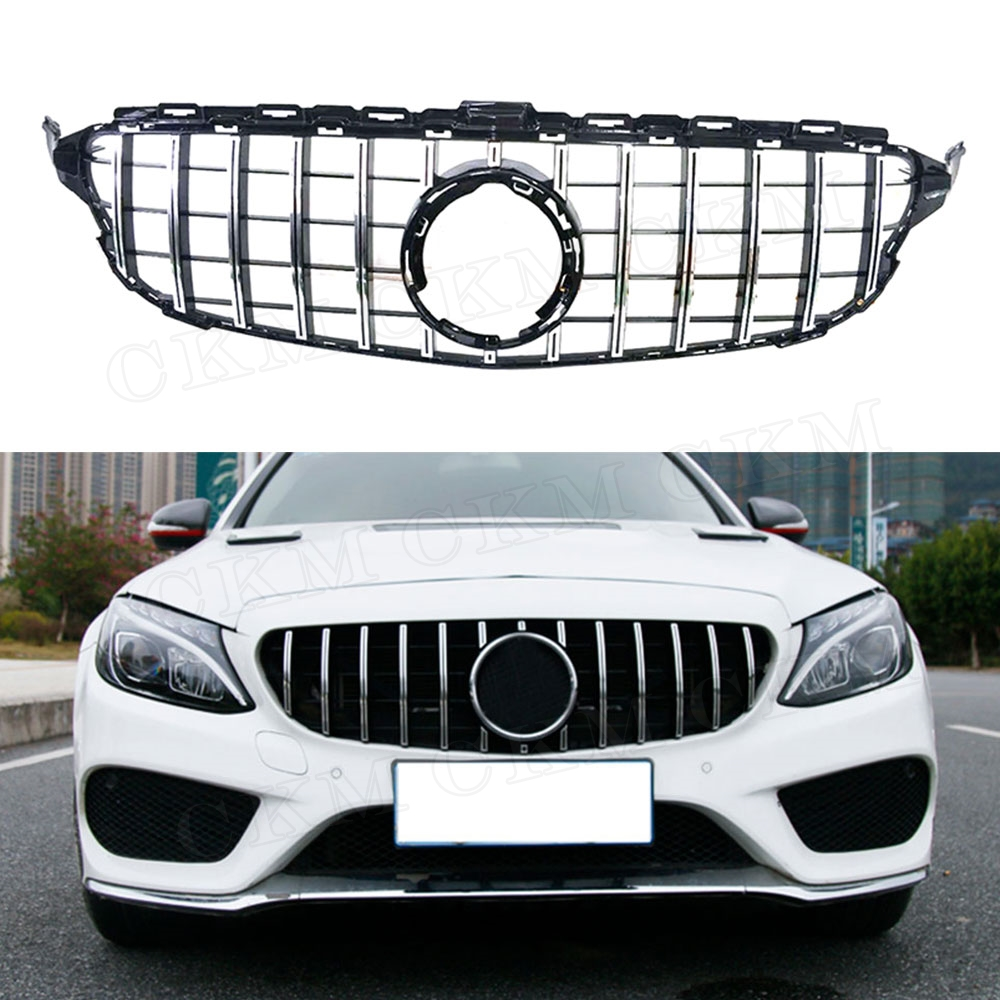 C Class ABS Front Bumper Mesh Grill Grille for Mercedes Benz W205 C200 C250 C300 C43 2015 2019 GTR Style Not for C63 AMG