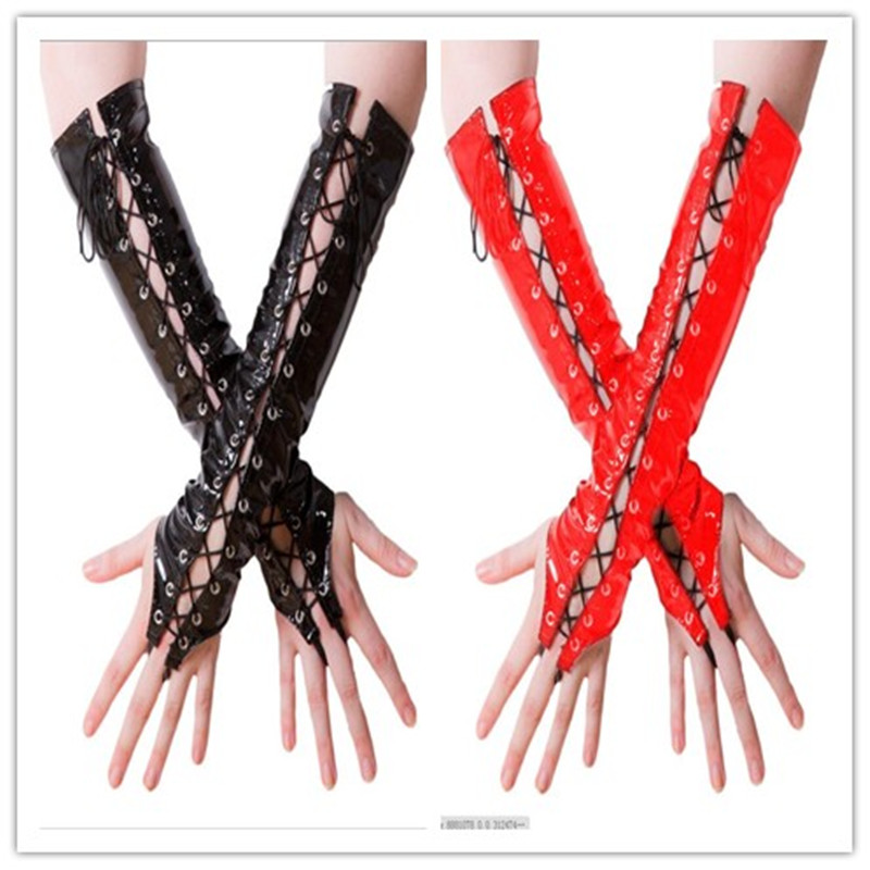 Sexy Long Black Red PVC Women Hanging Gloves Ladies Faux Leather Lacing Gloves Night Club DS Sexy Cosplay Costumes