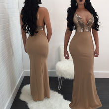 Spaghetti Strap Sequined Maxi Dress Sexy V-neck Bodycon Long Club Outfit Sheath Elegant Party Robe Femme Vestidos