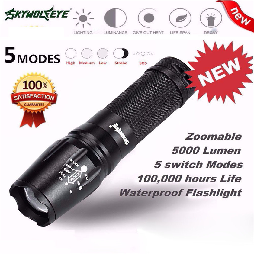 High Quality 5000 Lumen 5 Modes T6 Zoomable LED 18650 Flashlight Torch Lamp Light G700 X800