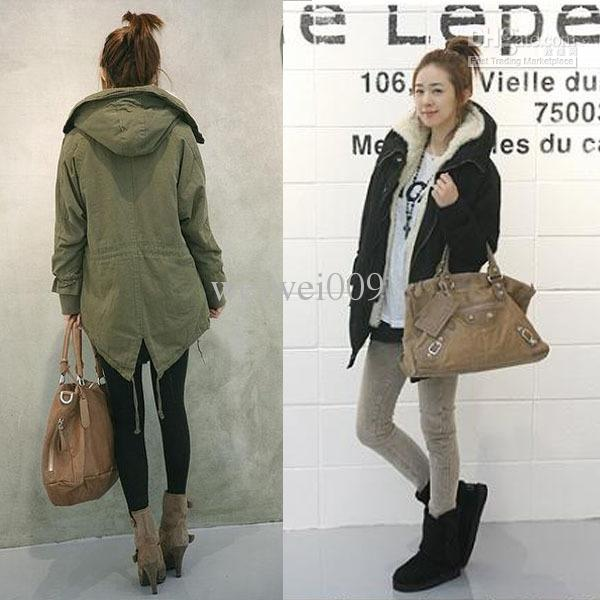 Cotton Warm Coat Army Green Outwear Hooded Winter Coat Women ...