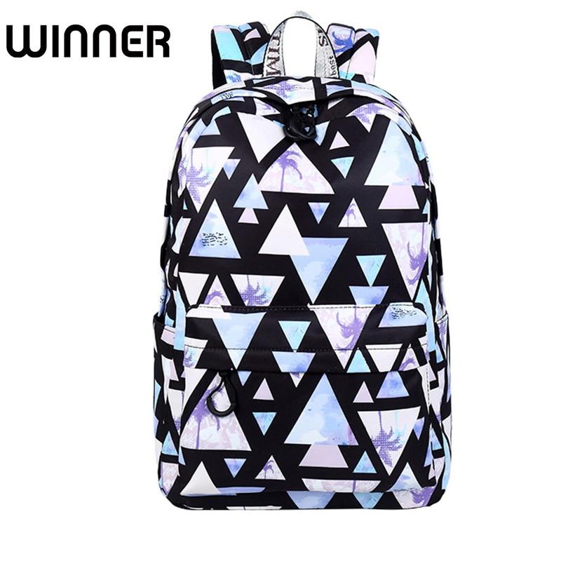 Fashion Waterproof Women Backpack Landscape Geometric Pattern Printing Large Capacity Girls College Bookbags geometric pattern knot tankini set