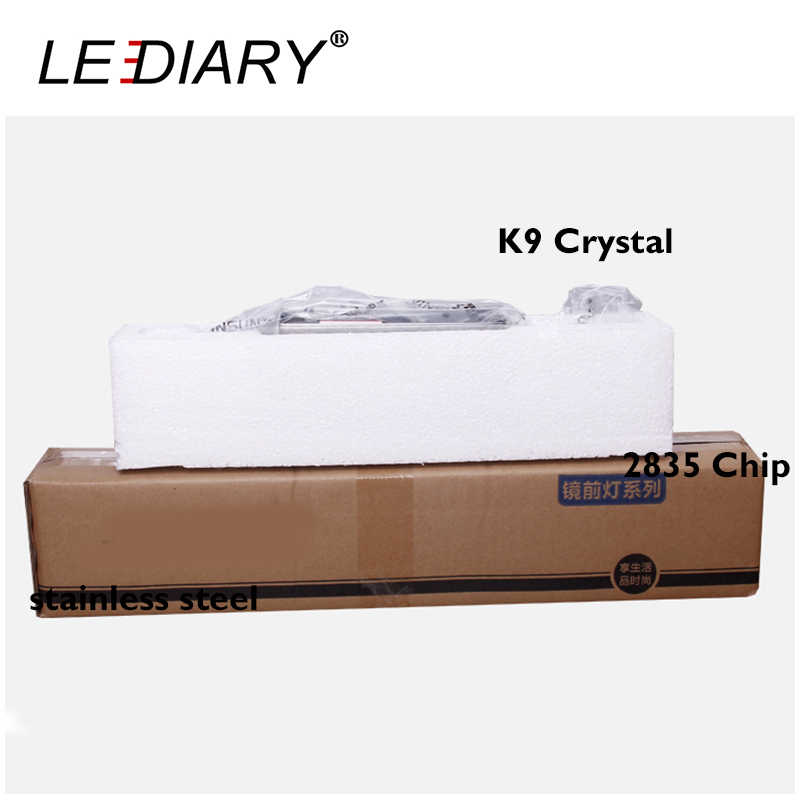 LEDIARY Square Crystal Mirror Lamp 16/32/46/62cm Long Champagne/White LED Wall Light IC Driver 110/220v Bathroom Lamp