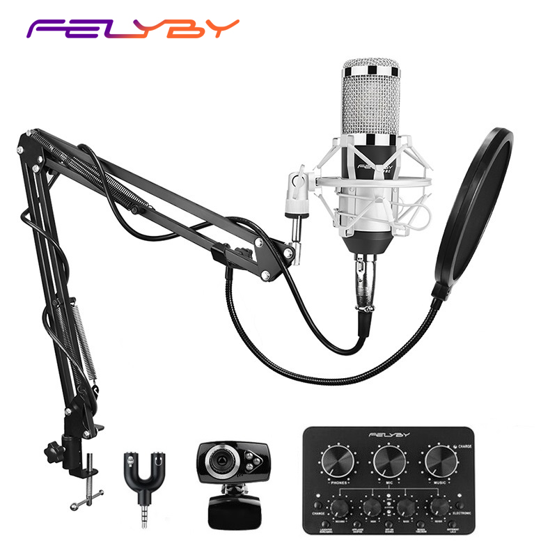FELYBY BM 800 microphone condenser with sound card and webcam for computer studio recording karaoke 800