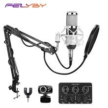 FELYBY BM 800 mikrofon kondenser ses kartı ve webcam bilgisayar stüdyosu kayıt karaoke 800 mic