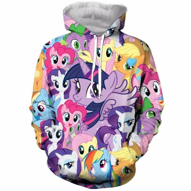 1a51ae70f52c YX GIRL 2018 My Little Pony 3D Print Hooded Sweatshirt Men s Clothing Funny  Mock Up Hoodie Sweatshirt Unisex Drop Shipping