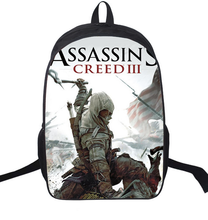 16 Inch Assassin Creed Nylon Backpack Cartoon School Bag Student Bags Double Shoulder Boy Girls Schoolbag Gift