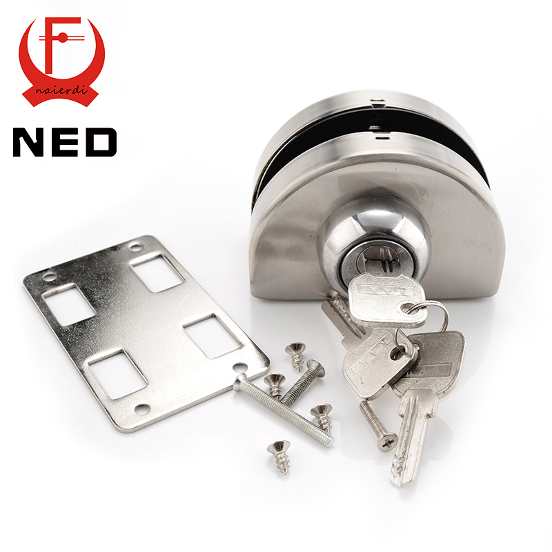 NED Single Glass Door Lock 304 Stainless Steel Double Open Frameless Door Latches Hasps For 10-12mm Thickness Furniture Hardware 10 12mm thick frameless glass door bolt latch latches with thumb turning thumbturn boring free latch to glass panel