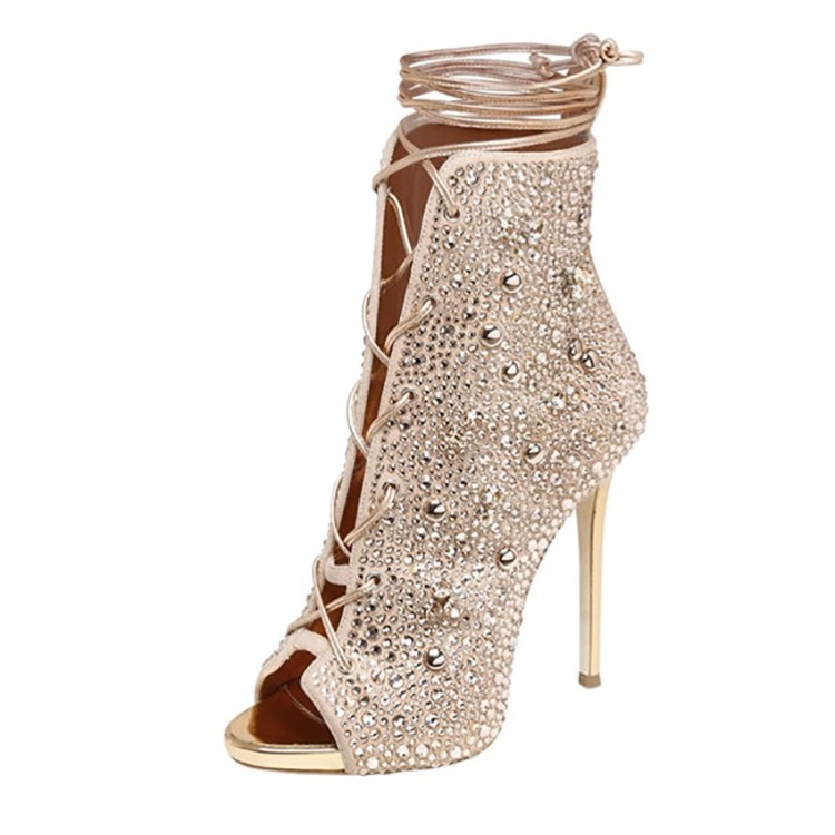 цены New Crystal Boots Lace Up Cut-out Summer Shoes Women Gold Sliver Peep Toe High Heels Ankle Strap Luxury Design Ankle Boots J152