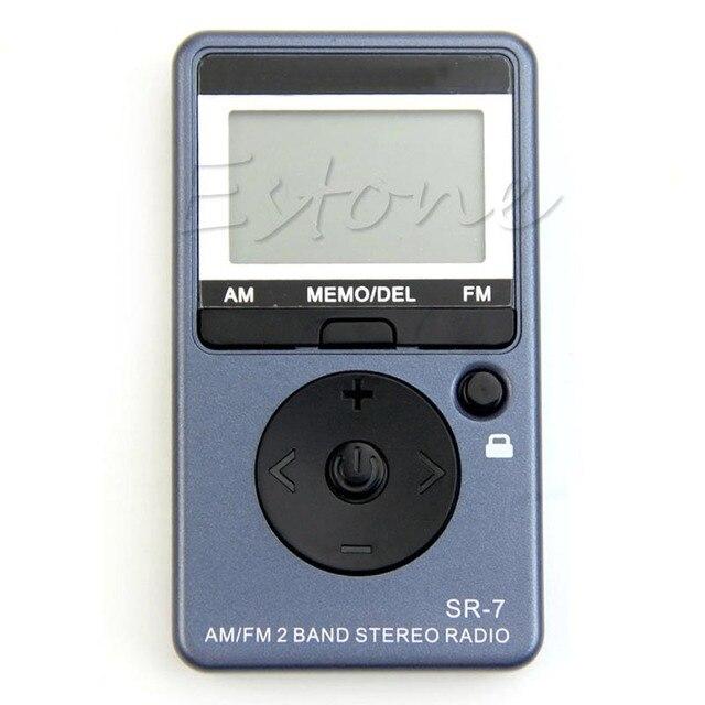 Горячая AM/FM 2 Band Цифровая Настройка FM Стерео Радио Приемник + Наушники DC 5 В Портативный