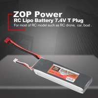 ZOP Power 7.4V 5000mAh 40C 2S 1P Lipo Battery T Plug Rechargeable for RC Racing Drone Quadcopter Helicopter Car Boat