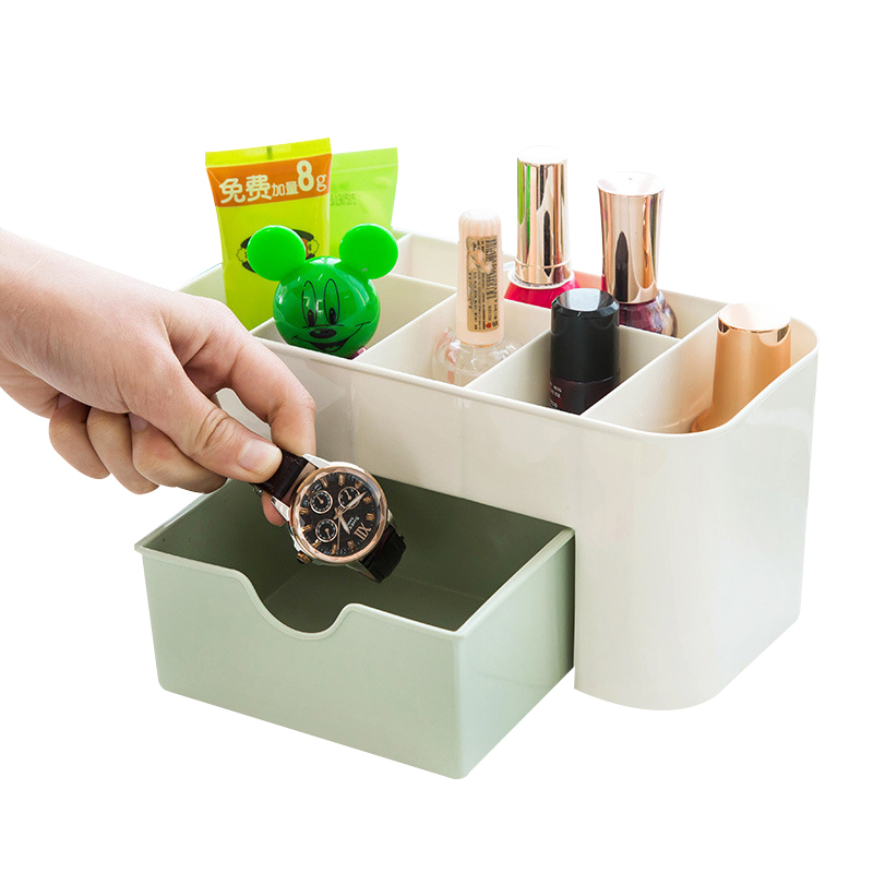 Plastic Cosmetic Organizer Jewelry Box Office Storage Drawer Desk Makeup Case Brush Box Lipstick Boxes