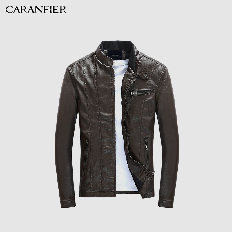 Generic Mens Solid Color Slim Fit Outwear Stand Collar Faux-Leather PU Jackets Black S